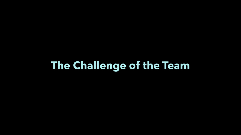 The Challenge of the Team