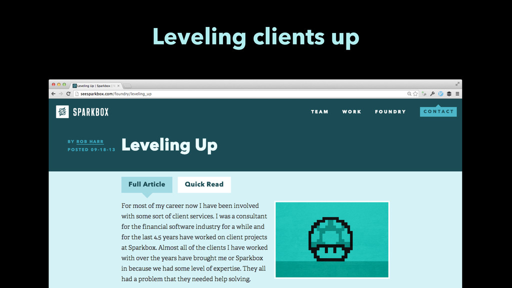 Leveling clients up