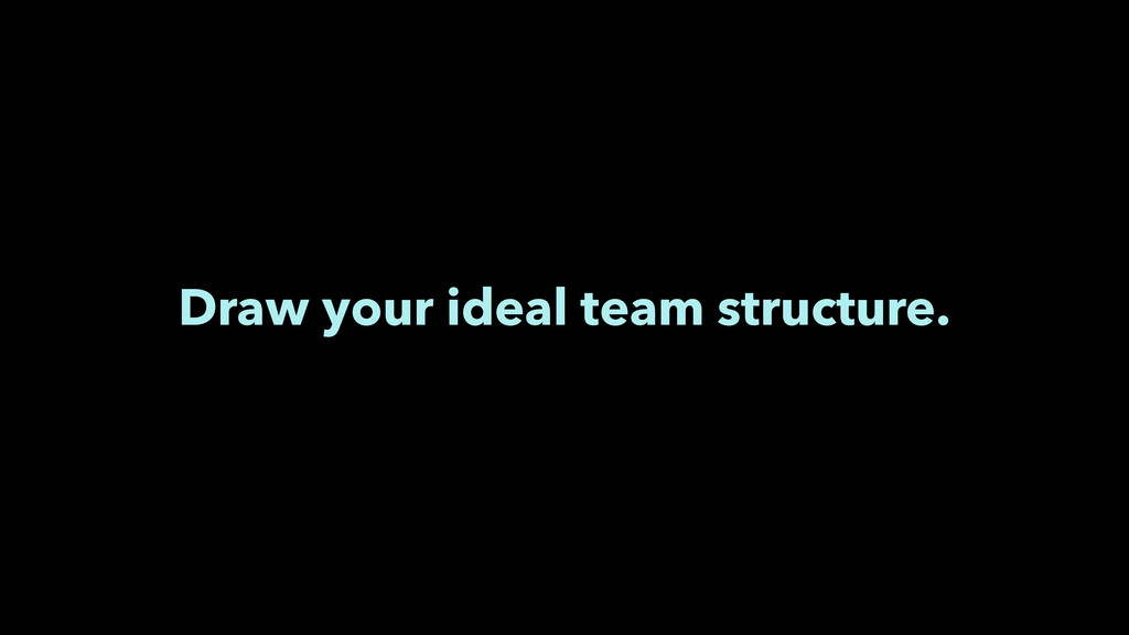 Draw your ideal team structure.