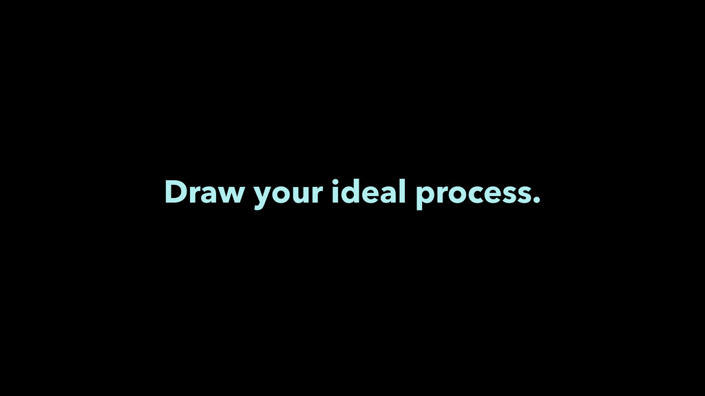 Draw your ideal process.