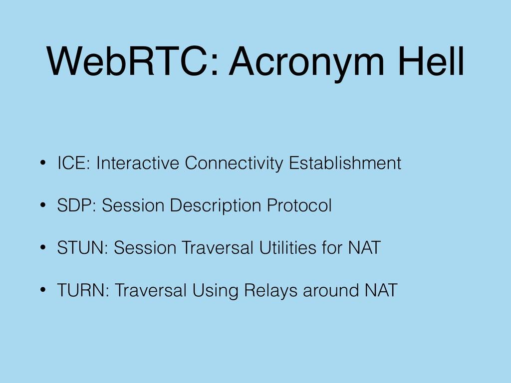 WebRTC: Acronym Hell • ICE: Interactive Connect...
