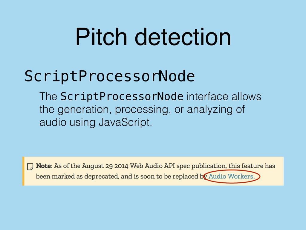 Pitch detection The ScriptProcessorNode interfa...