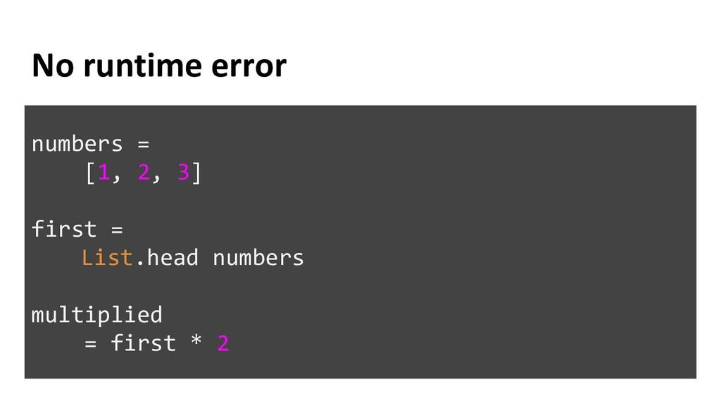 No runtime error numbers = [1, 2, 3] first = Li...