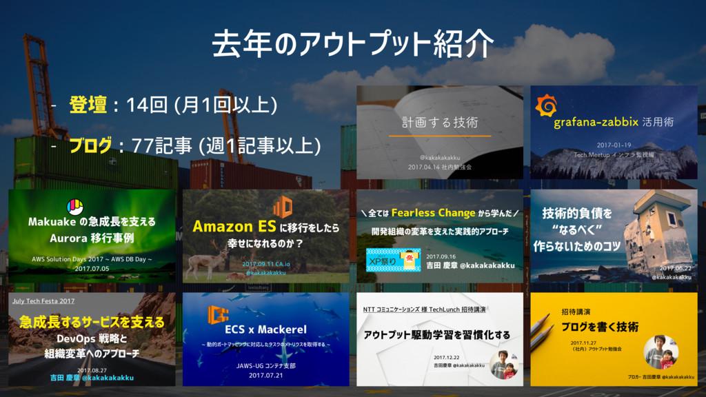 去年のアウトプット紹介 - 登壇 : 14回 (月1回以上) - ブログ : 77記事 (週1...