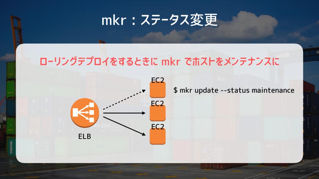 ローリングデプロイをするときに mkr でホストをメンテナンスに mkr : ステータス変更 ...