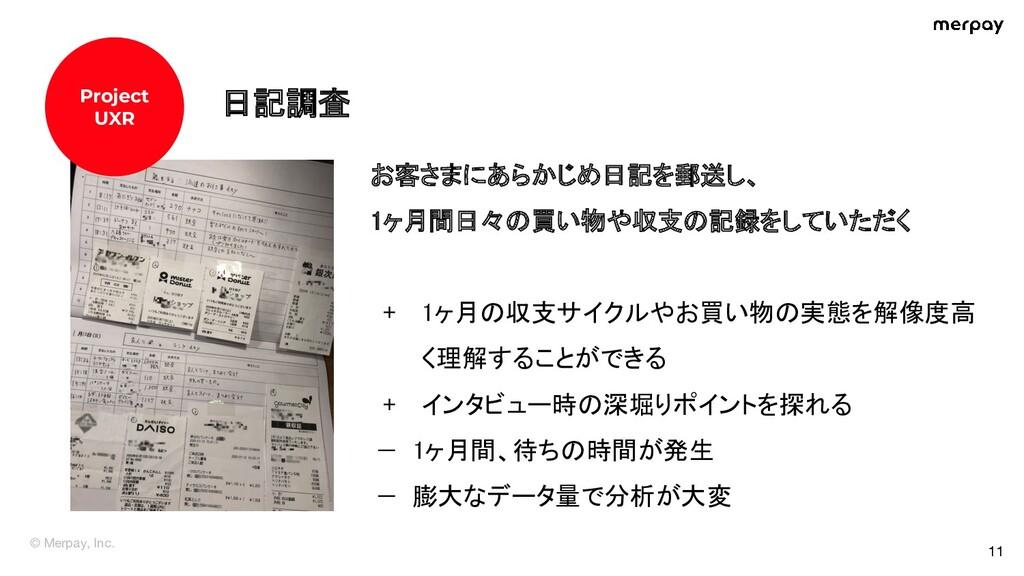© Merpay, Inc. 11 Before 日記調査 お客さまにあらかじめ日記を郵送...