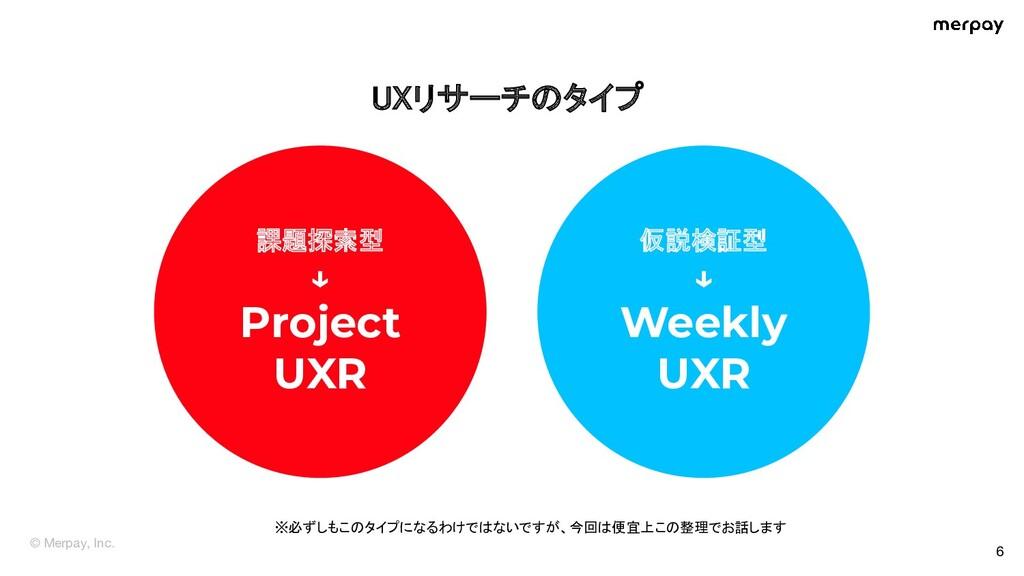 © Merpay, Inc. UXリサーチのタイプ  6 課題探索型 ↓ Project ...