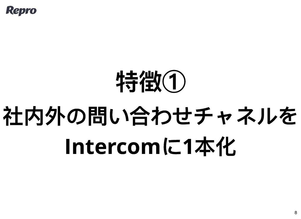 特徴① 特徴① 社内外の問い合わせチャネルを 社内外の問い合わせチャネルを Intercom ...