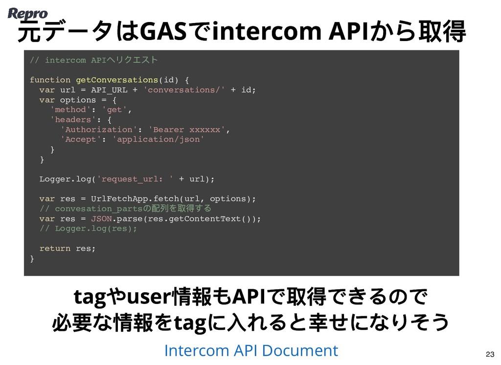 // intercom API へリクエスト function getConversation...