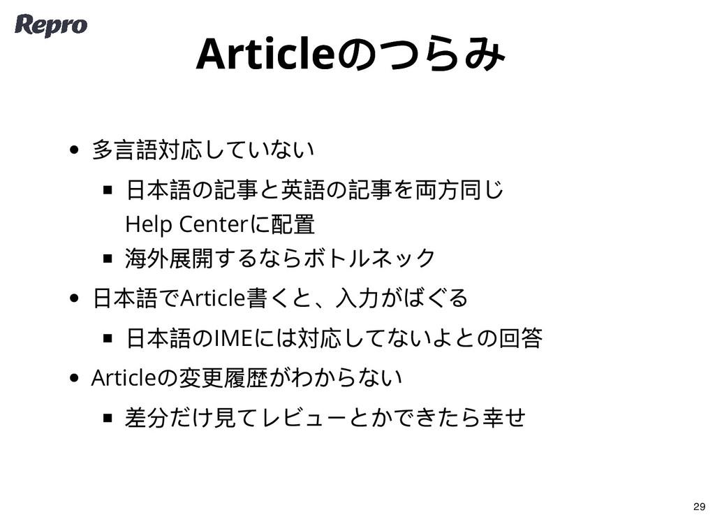 Article のつらみ Article のつらみ 多言語対応していない 日本語の記事と英語の...