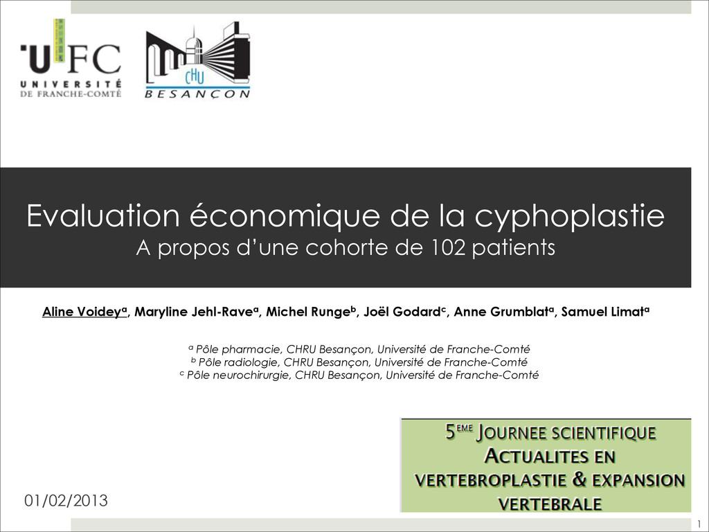 Evaluation économique de la cyphoplastie  A pr...