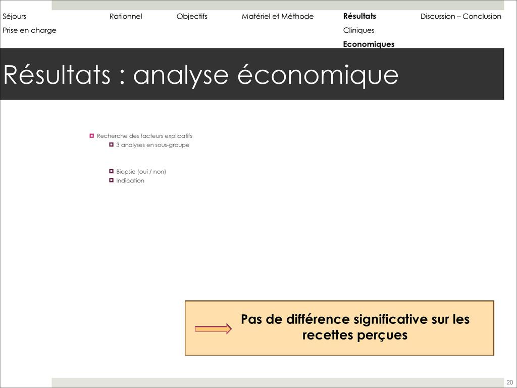 Résultats : analyse économique 20 ! Recherche d...