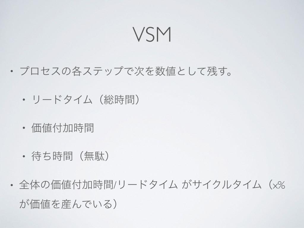 VSM • ϓϩηεͷ֤εςοϓͰΛͱͯ͢͠ɻ • ϦʔυλΠϜʢ૯ؒʣ • Ձ...