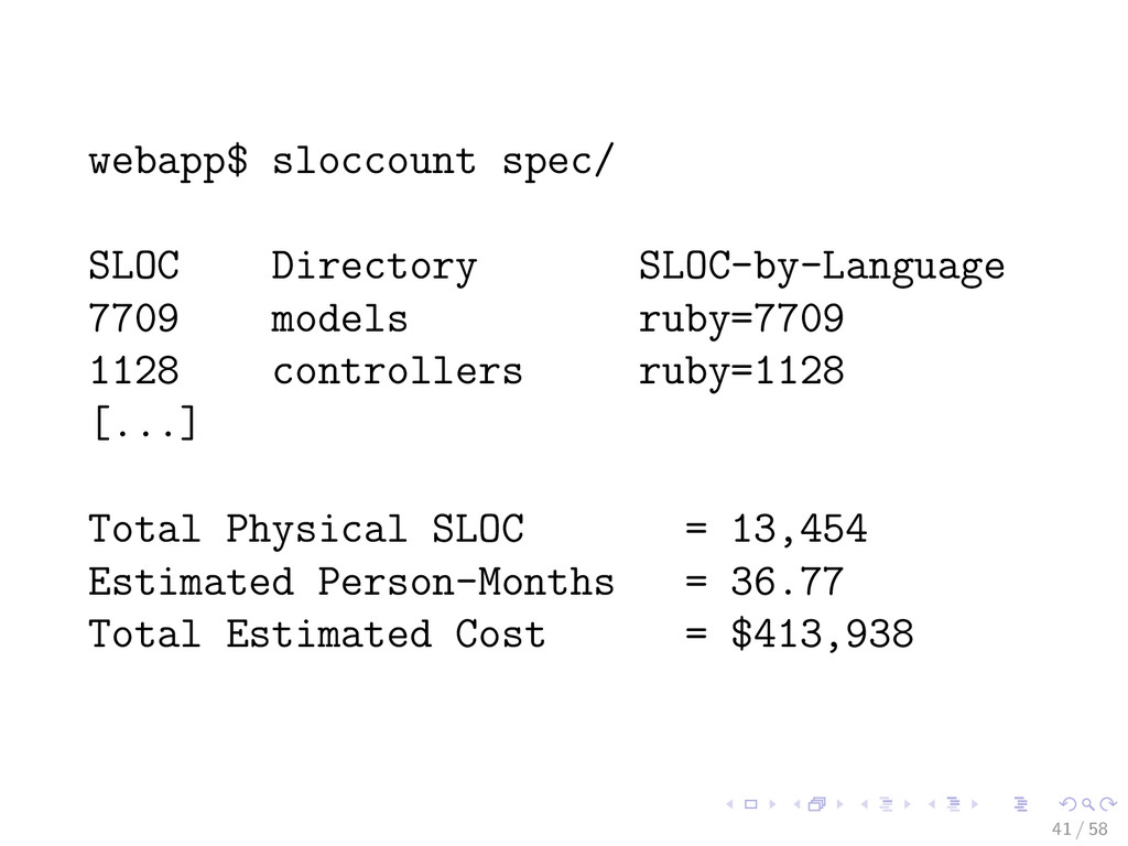 webapp$ sloccount spec/ SLOC Directory SLOC-by-...