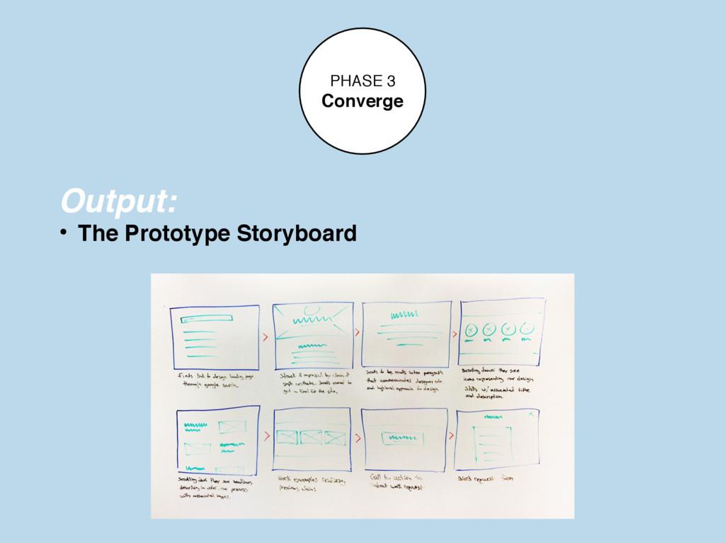 PHASE 3 Converge Output: • The Prototype Storyb...