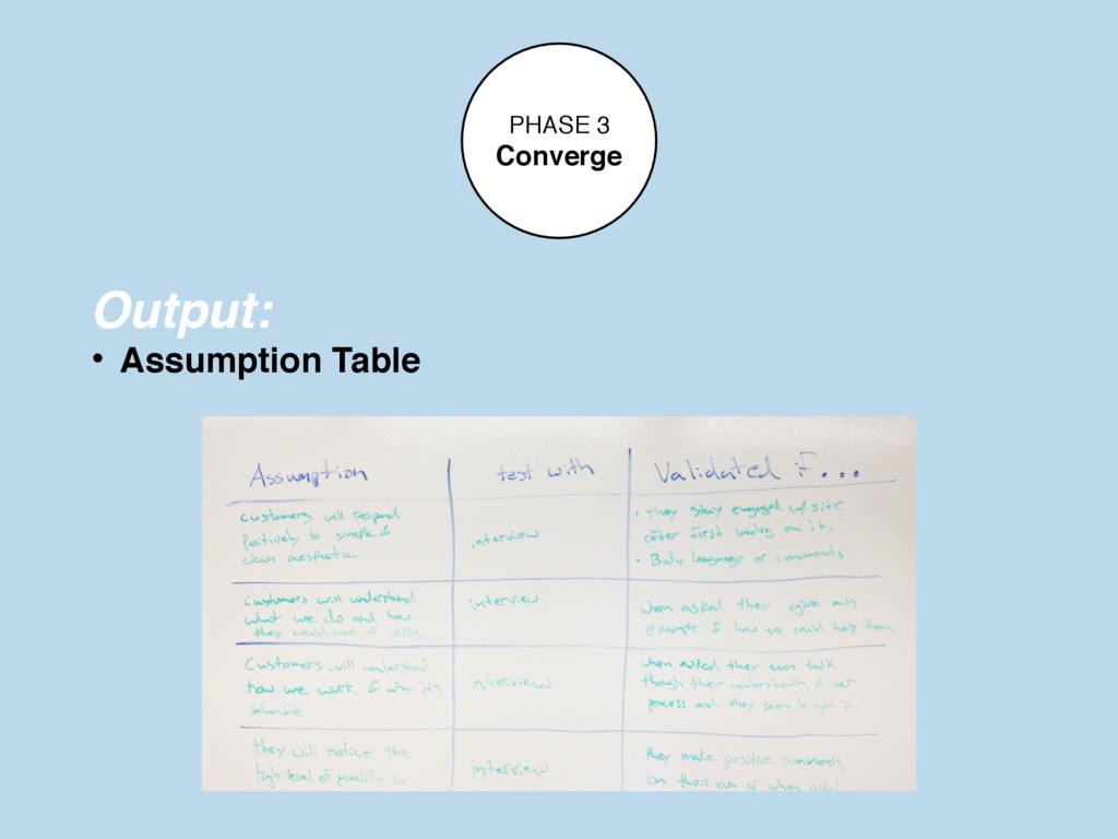 PHASE 3 Converge Output: • Assumption Table