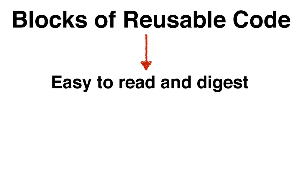 Blocks of Reusable Code Easy to read and digest