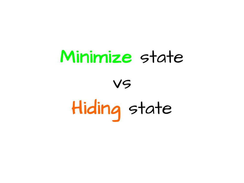 Minimize state vs Hiding state