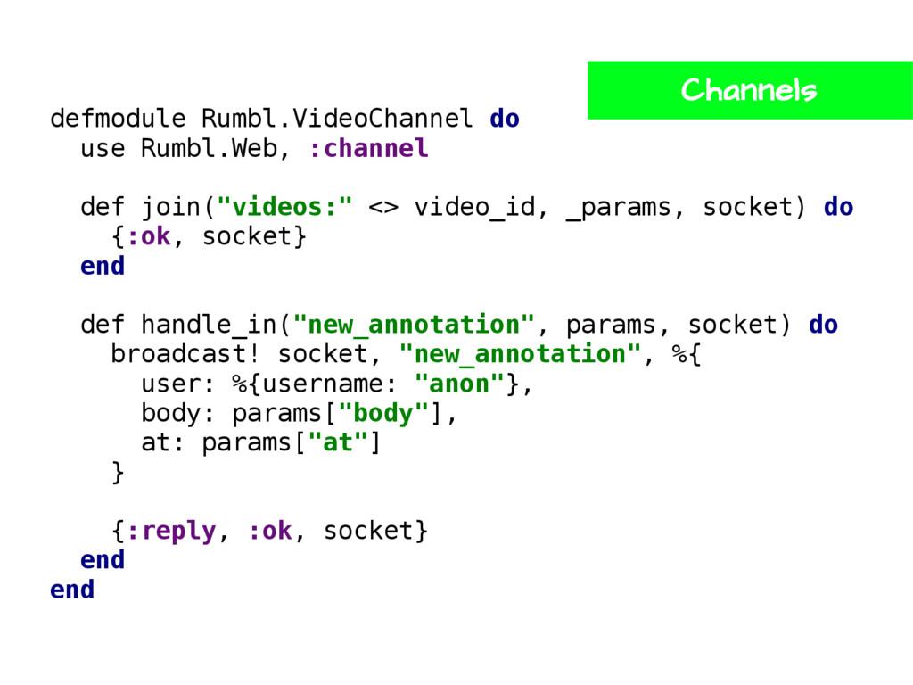 defmodule Rumbl.VideoChannel do use Rumbl.Web, ...