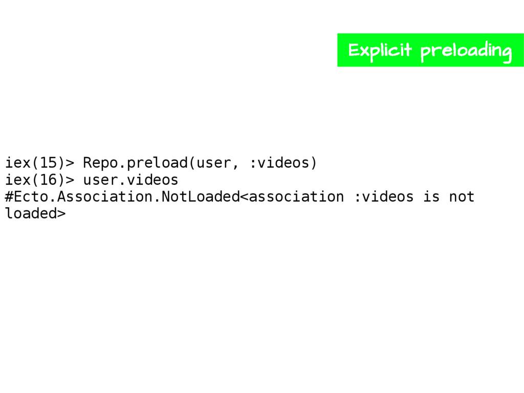 iex(15)> Repo.preload(user, :videos) iex(16)> u...
