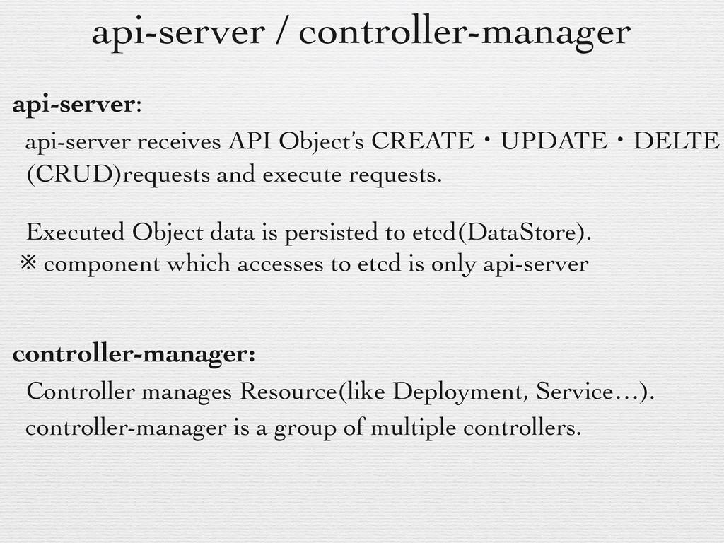 api-server / controller-manager api-server: api...