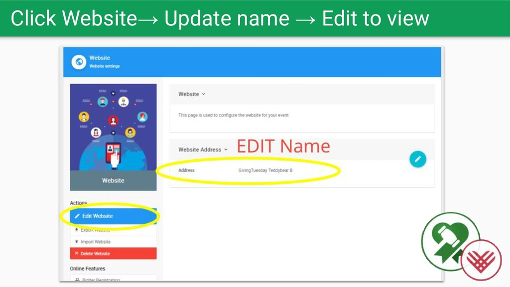 Click Website→ Update name → Edit to view