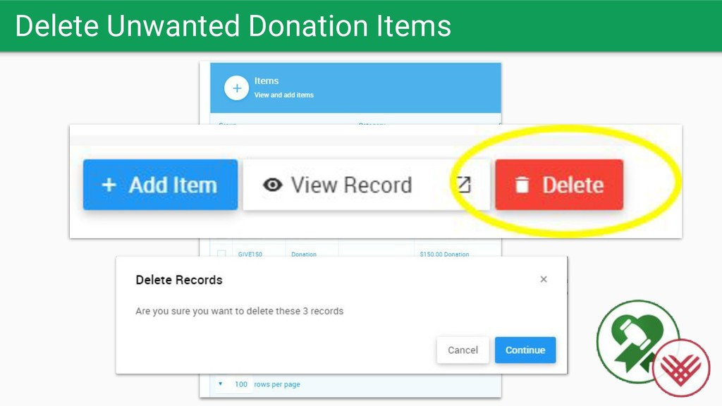 Delete Unwanted Donation Items