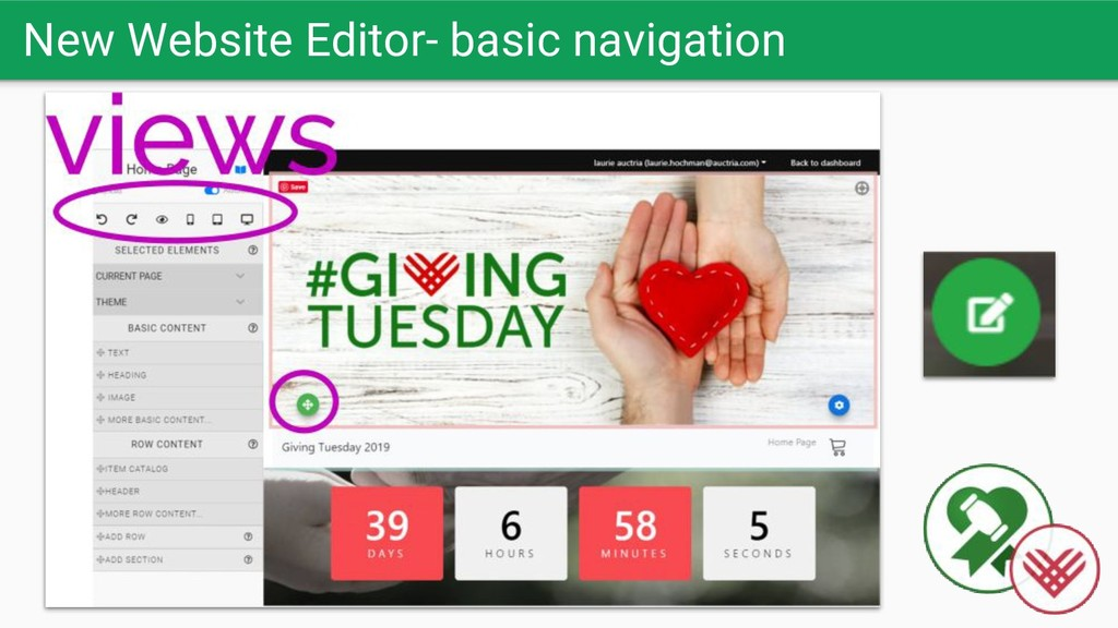 New Website Editor- basic navigation