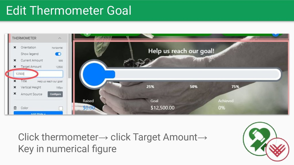 Edit Thermometer Goal Click thermometer→ click ...