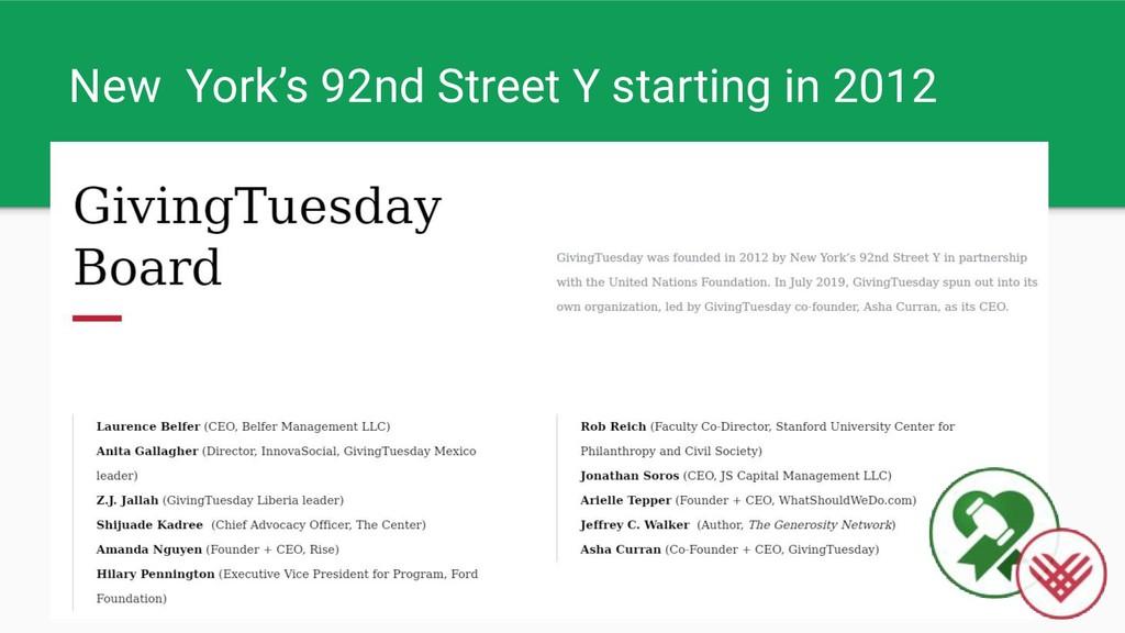 New York's 92nd Street Y starting in 2012