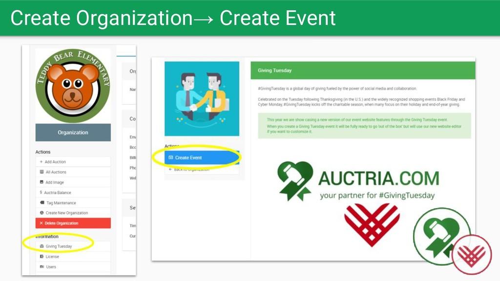 Create Organization→ Create Event
