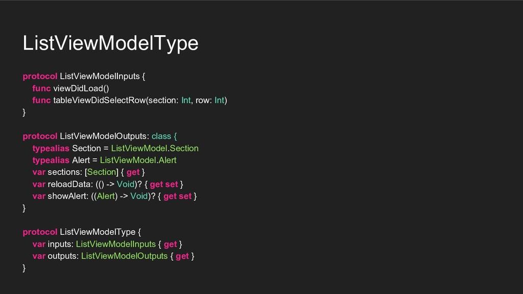 ListViewModelType protocol ListViewModelInputs ...