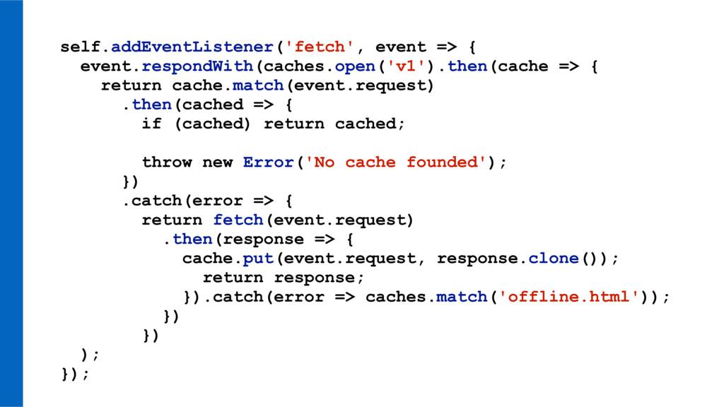self.addEventListener('fetch', event => { event...