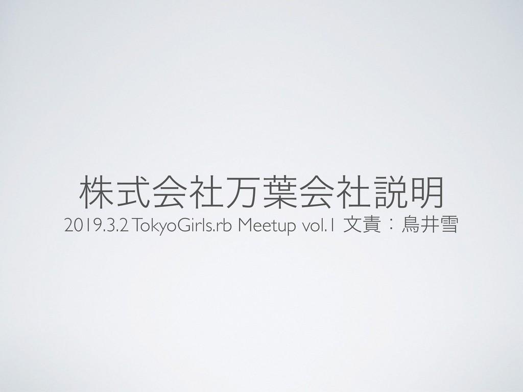 גࣜձࣾສ༿ձࣾઆ໌ 2019.3.2 TokyoGirls.rb Meetup vol.1 ...