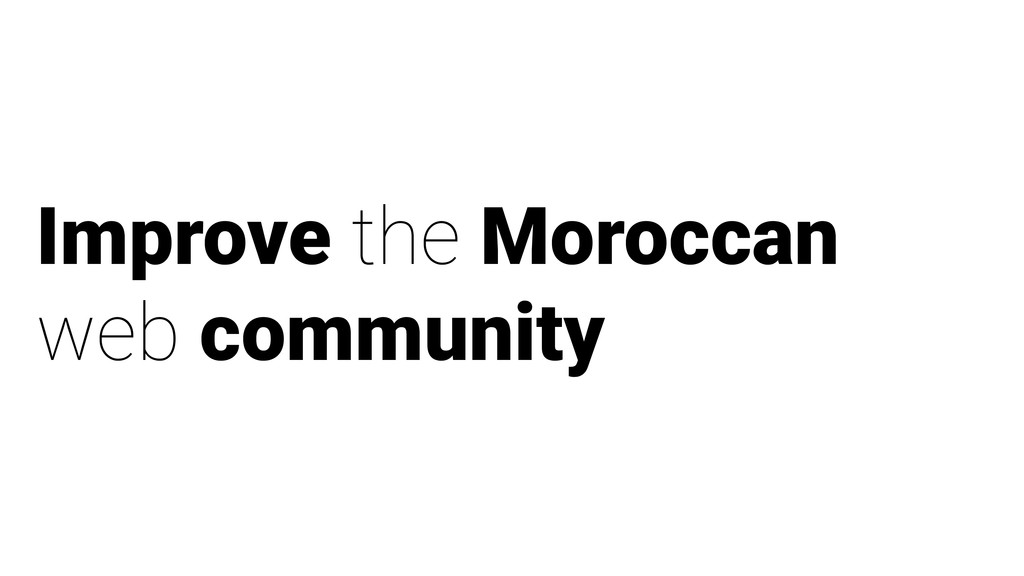 Improve the Moroccan web community