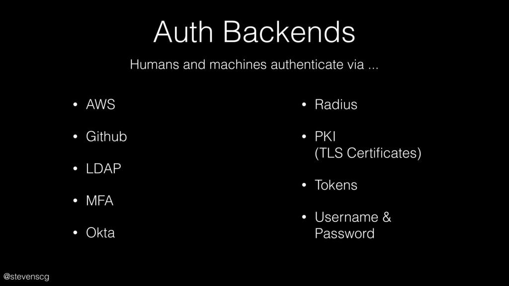 @stevenscg Auth Backends • AWS • Github • LDAP ...
