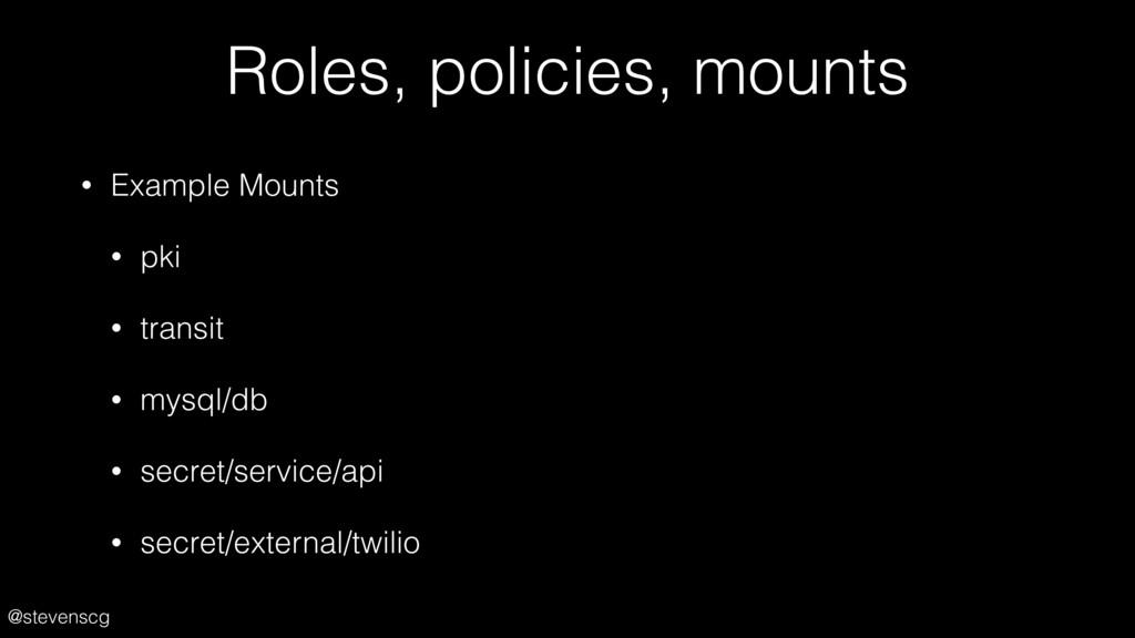 @stevenscg Roles, policies, mounts • Example Mo...