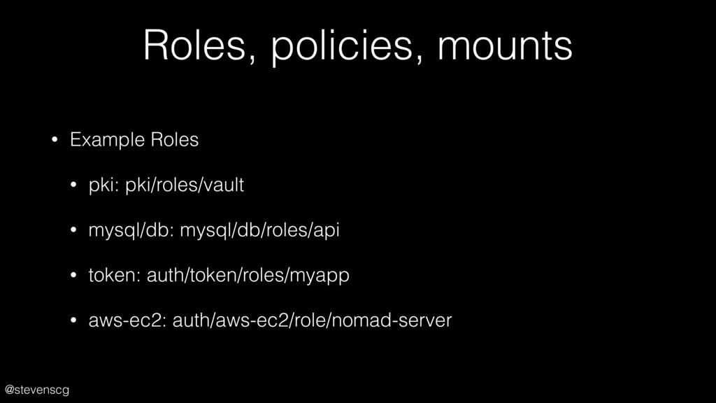 @stevenscg Roles, policies, mounts • Example Ro...