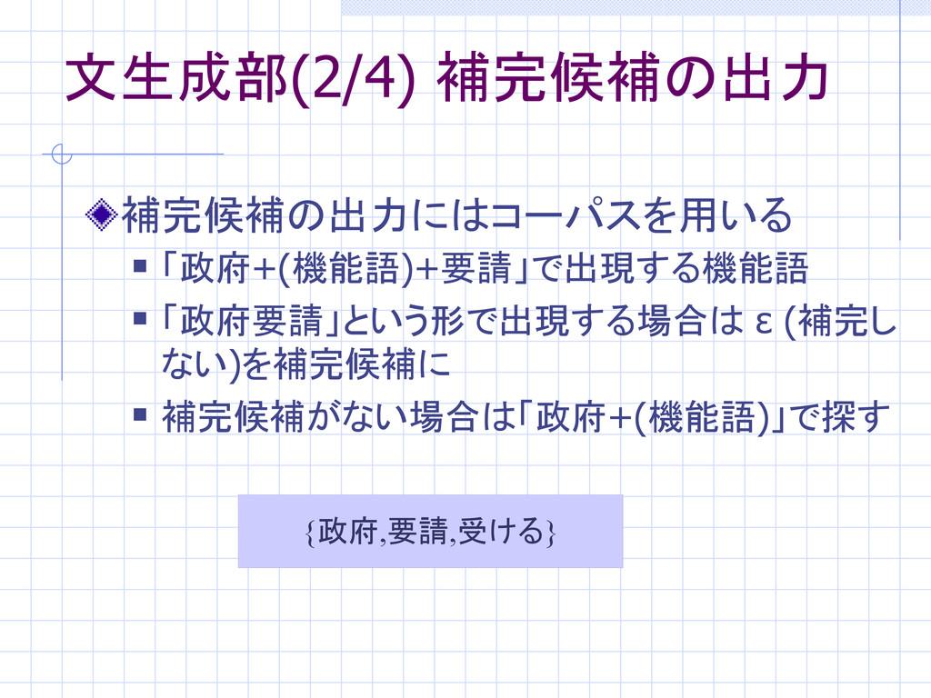 文生成部(2/4) 補完候補の出力 補完候補の出力にはコーパスを用いる  「政府+(機能語)...