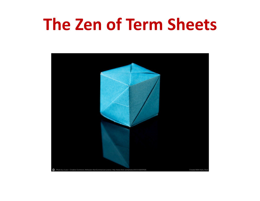 The Zen of Term Sheets
