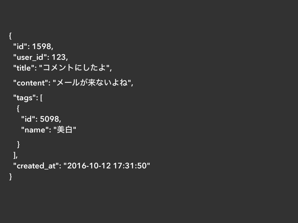"{ ""id"": 1598, ""user_id"": 123, ""title"": ""ίϝϯτʹͨ͠..."