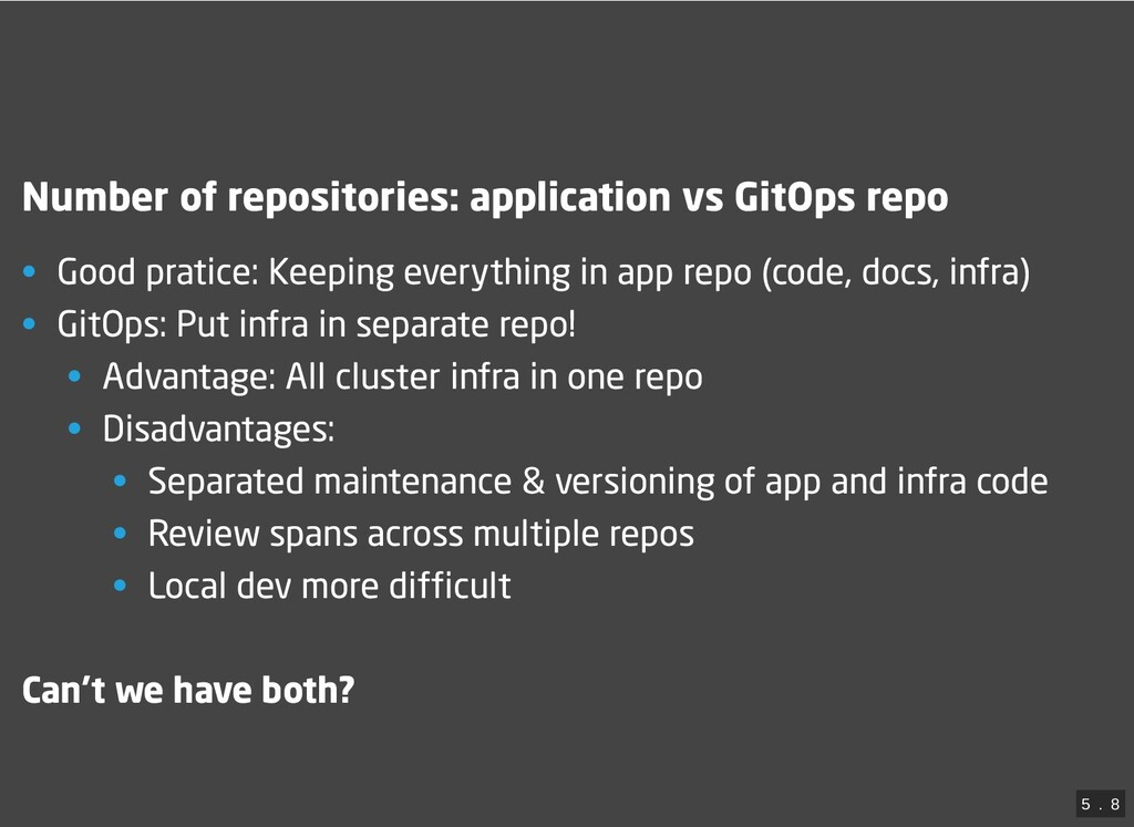 Number of repositories: application vs GitOps r...