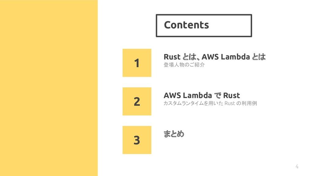 Contents 4 Rust とは、AWS Lambda とは カスタムランタイムを用いた ...