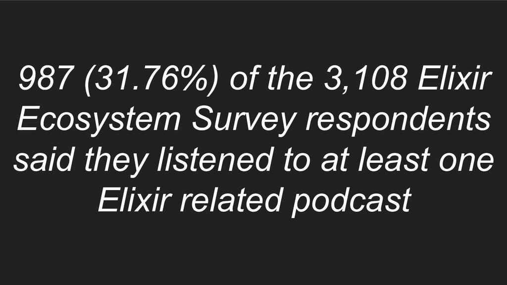 987 (31.76%) of the 3,108 Elixir Ecosystem Surv...