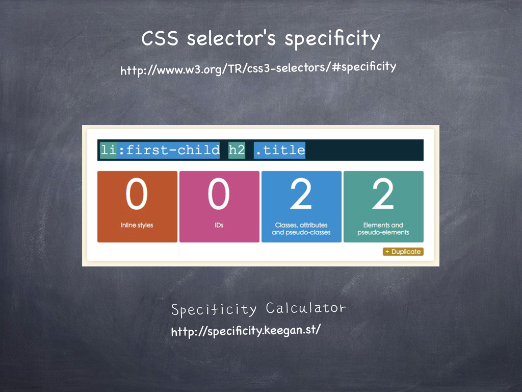CSS selector's specificity http:/ /www.w3.org/TR...