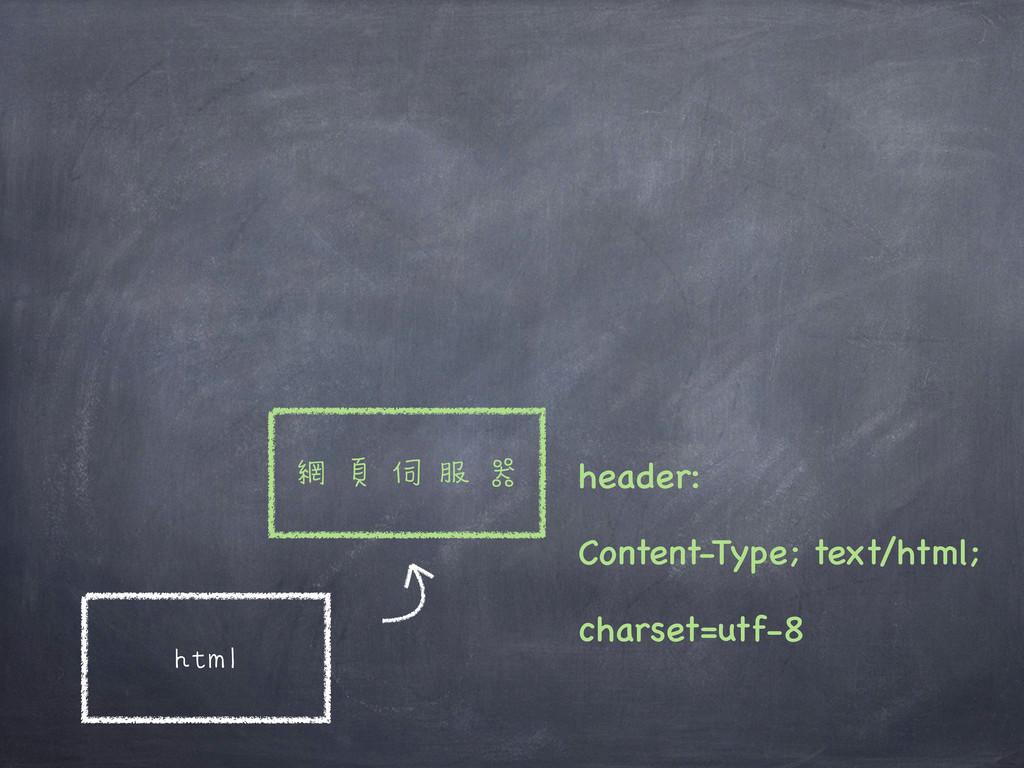 html 網頁伺服器 header: Content-Type; text/html; cha...
