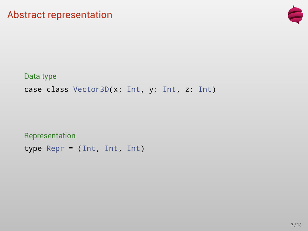 Abstract representation Data type case class Ve...