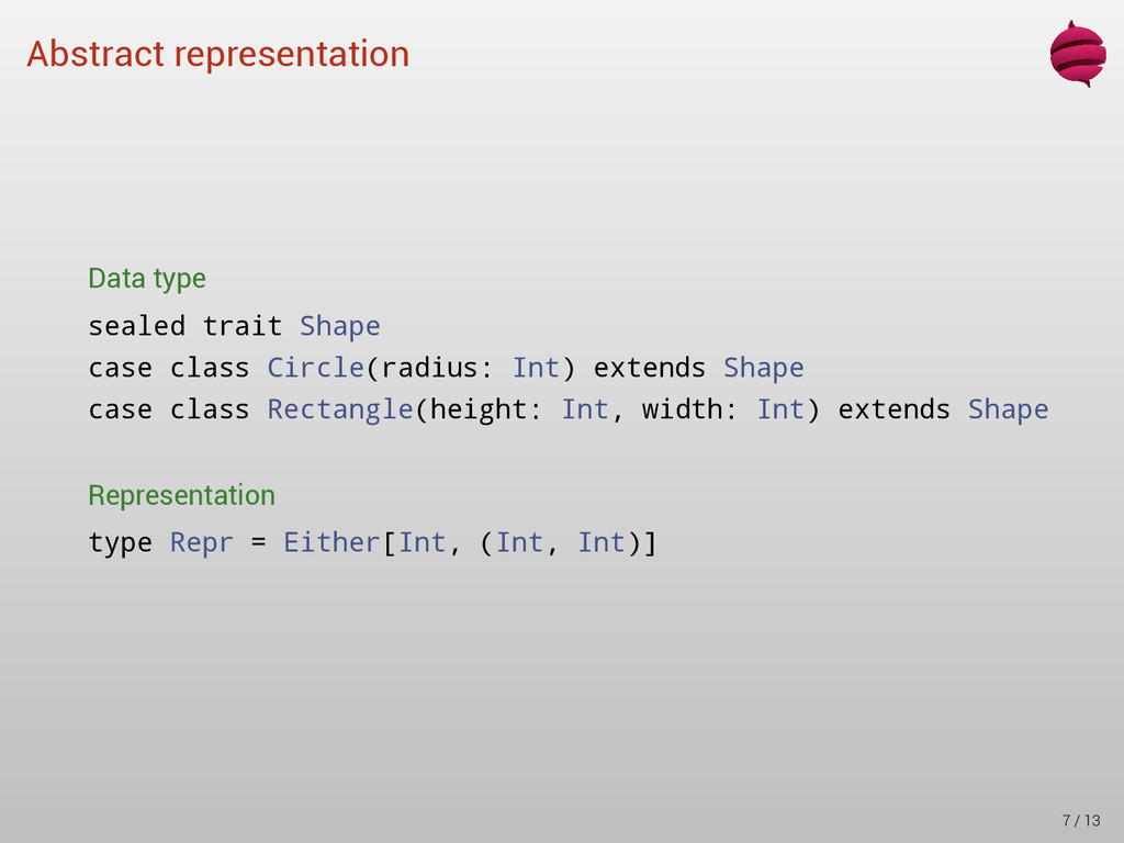 Abstract representation Data type sealed trait ...