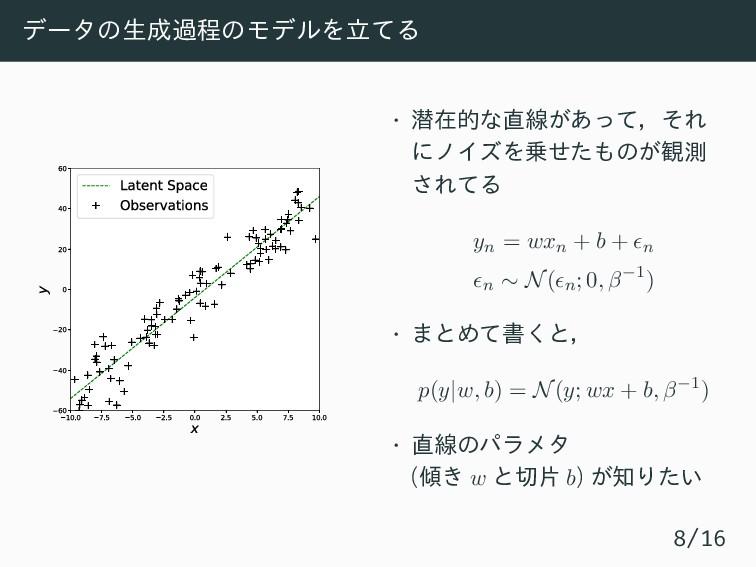 データの生成過程のモデルを立てる 10.0 7.5 5.0 2.5 0.0 2.5 5.0 7...