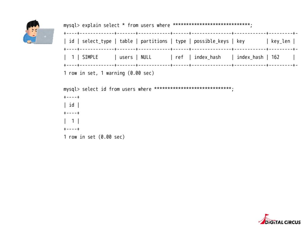 mysql> explain select * from users where ******...